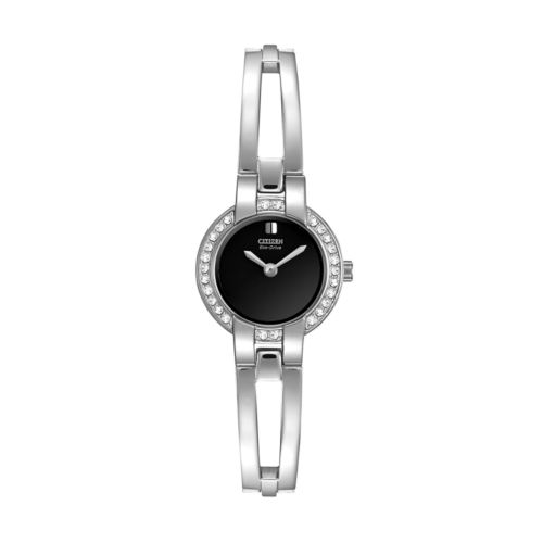 Citizen Eco-Drive Women's Silhouette Crystal Stainless Steel Half-Bangle Watch - EW9990-54E
