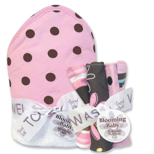 Trend Lab Maya Dot 6-pc. Hooded Towel and Washcloth Bouquet Set