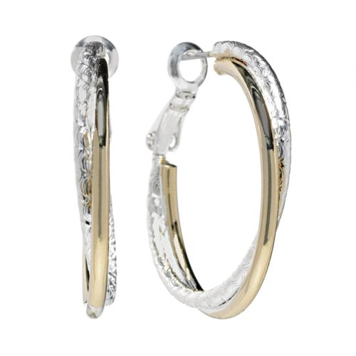 Croft & Barrow® Two Tone Textured Hoop Earrings