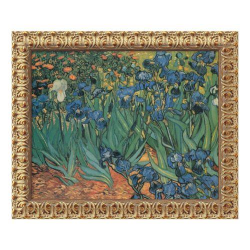 Les Irises Framed Canvas Art by Vincent van Gogh