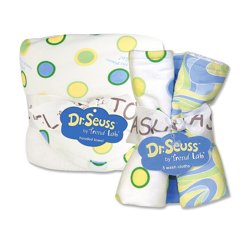 Dr. Seuss Oh the Places You'll Go 6-pc. Hooded Towel and Washcloth Bouquet Set by Trend Lab - Blue