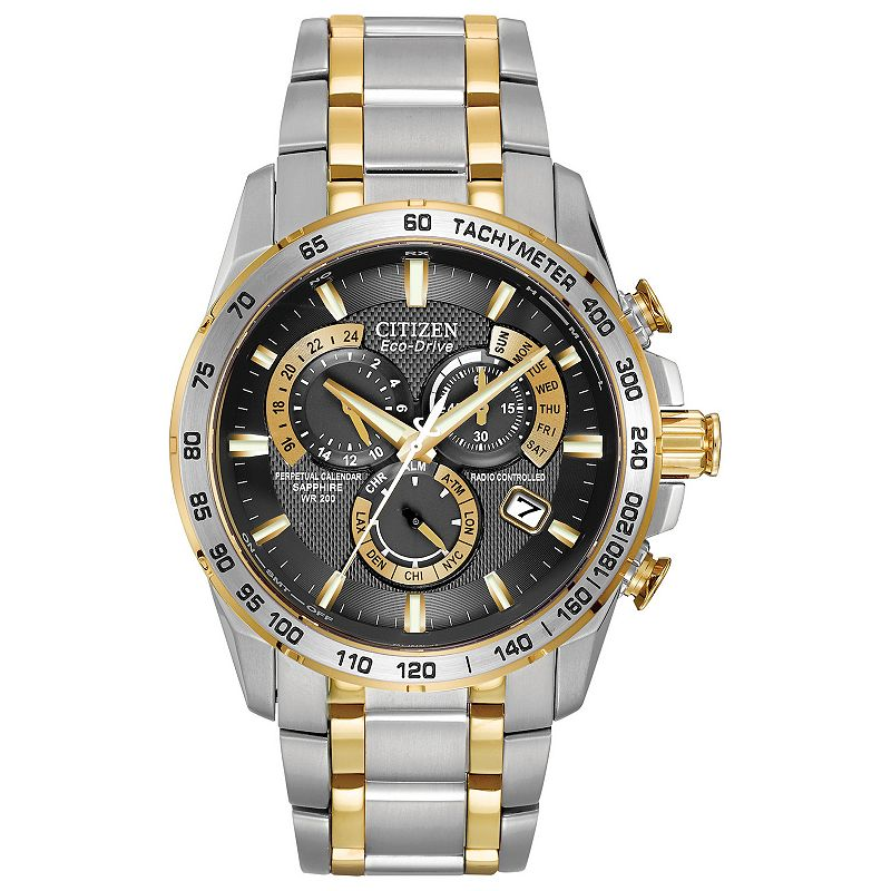 Citizen Eco-Drive Men's Perpetual Chrono A-T Two Tone Stainless Steel Watch - AT4004-52E