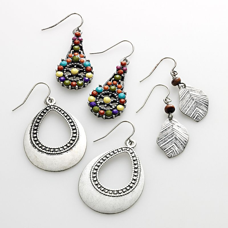 Mudd® Silver Tone Leaf Drop and Teardrop Earring Set