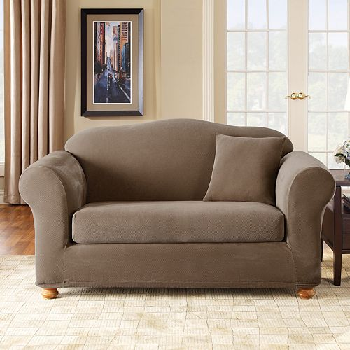 sure fit stretch pique 2 pc sofa slipcover
