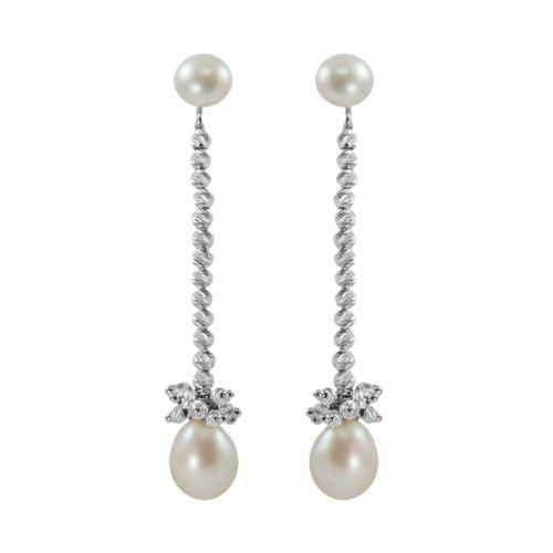 Sterling Silver Freshwater Cultured Pearl Bead Linear Drop Earrings