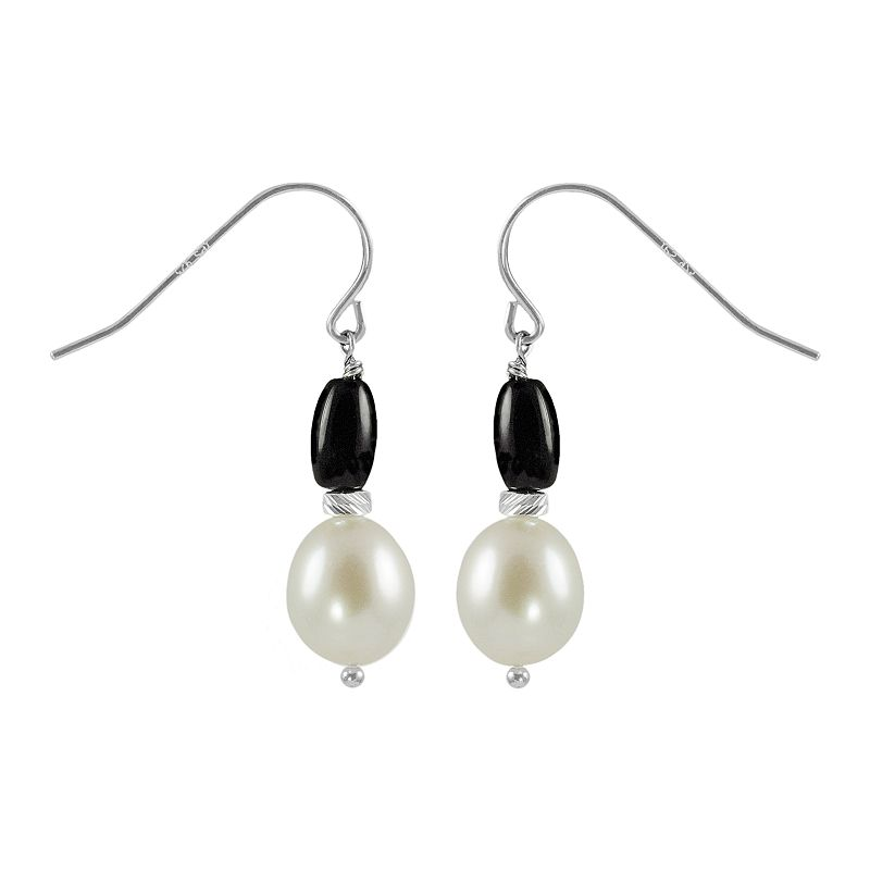 Sterling Silver Freshwater Cultured Pearl and Onyx Drop Earrings
