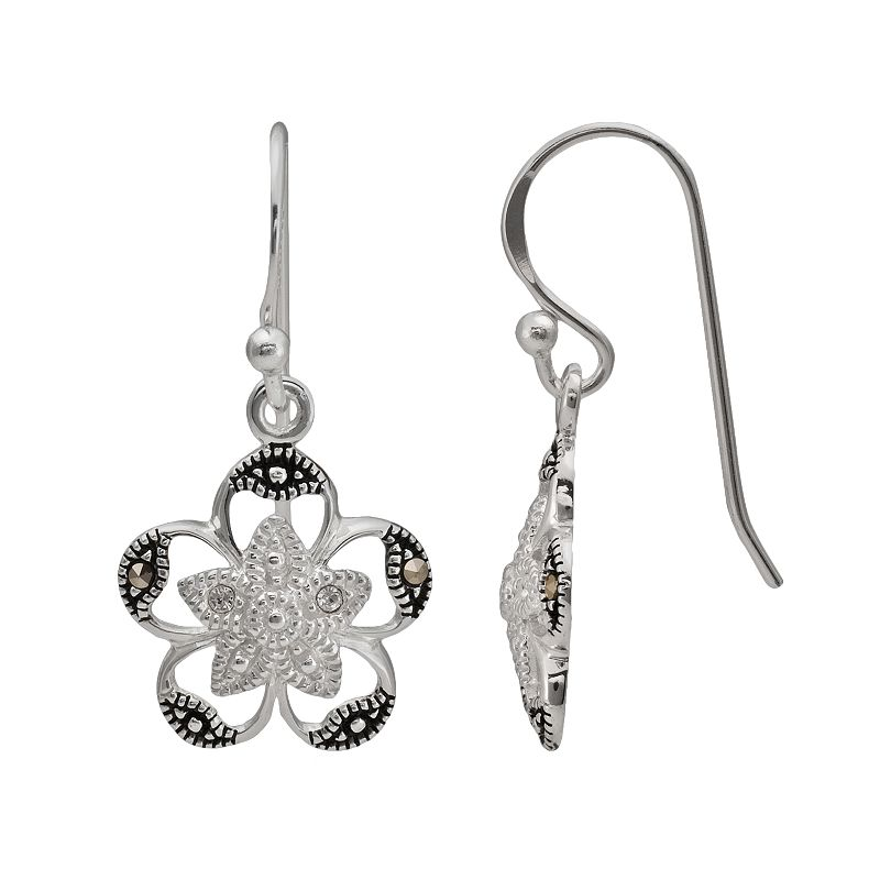 Sterling Silver Crystal and Marcasite Flower Drop Earrings