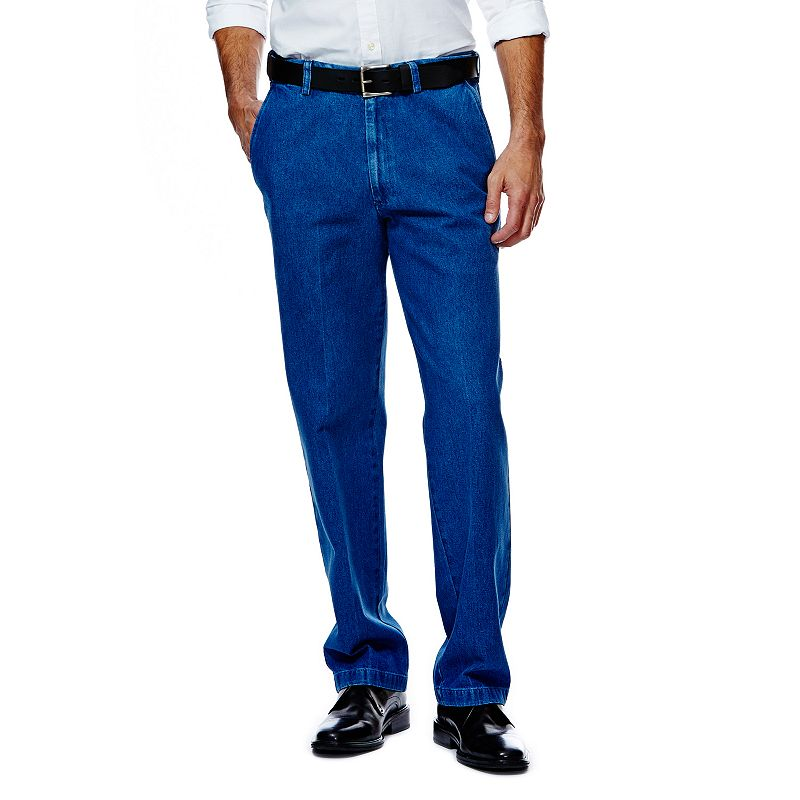 Men's Haggar® Work to Weekend® Classic-Fit Flat-Front Denim Pants