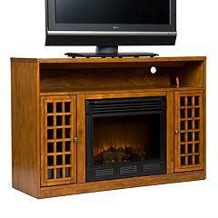 Narita Pine Media Console & Electric Fireplace