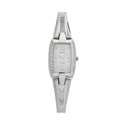 Seiko Solar Tressia Stainless Steel Mother-of-Pearl and Crystal Half-Bangle Watch - SUP083 - Women