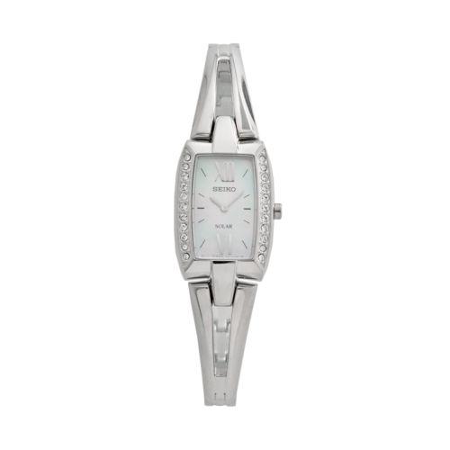 Seiko Women's Tressia Crystal Stainless Steel Solar Half-Bangle Watch - SUP083