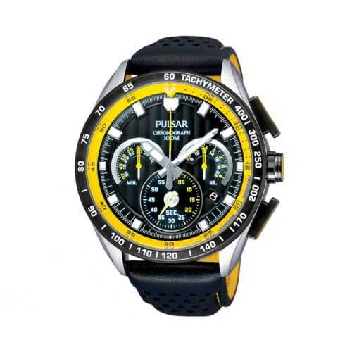 Pulsar Stainless Steel Leather Chronograph Watch - PU2007 - Men
