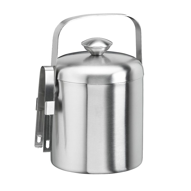 Stainless Steel 1 1/2-qt. Ice Bucket with Tongs