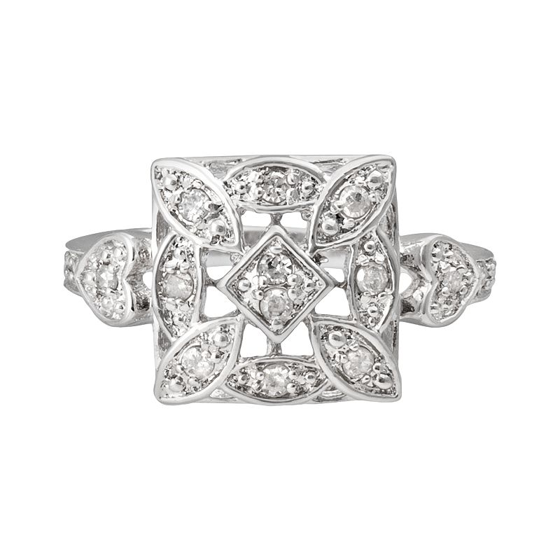 Sterling Silver 1/4-ct. T.W. Diamond Square Ring