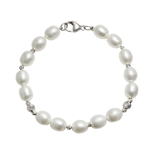 Sterling Silver Freshwater Cultured Pearl Bead Bracelet