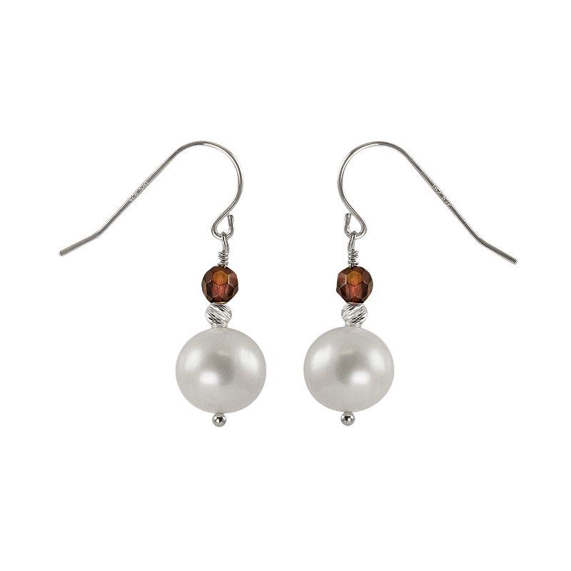 Sterling Silver Freshwater Cultured Pearl and Garnet Bead Drop Earrings