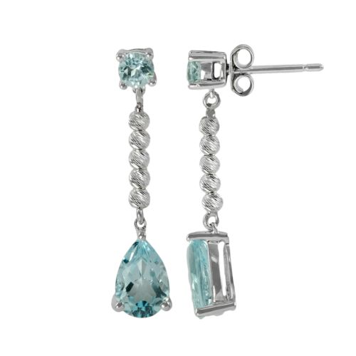 Sterling Silver Blue Topaz Bead Linear Drop Earrings