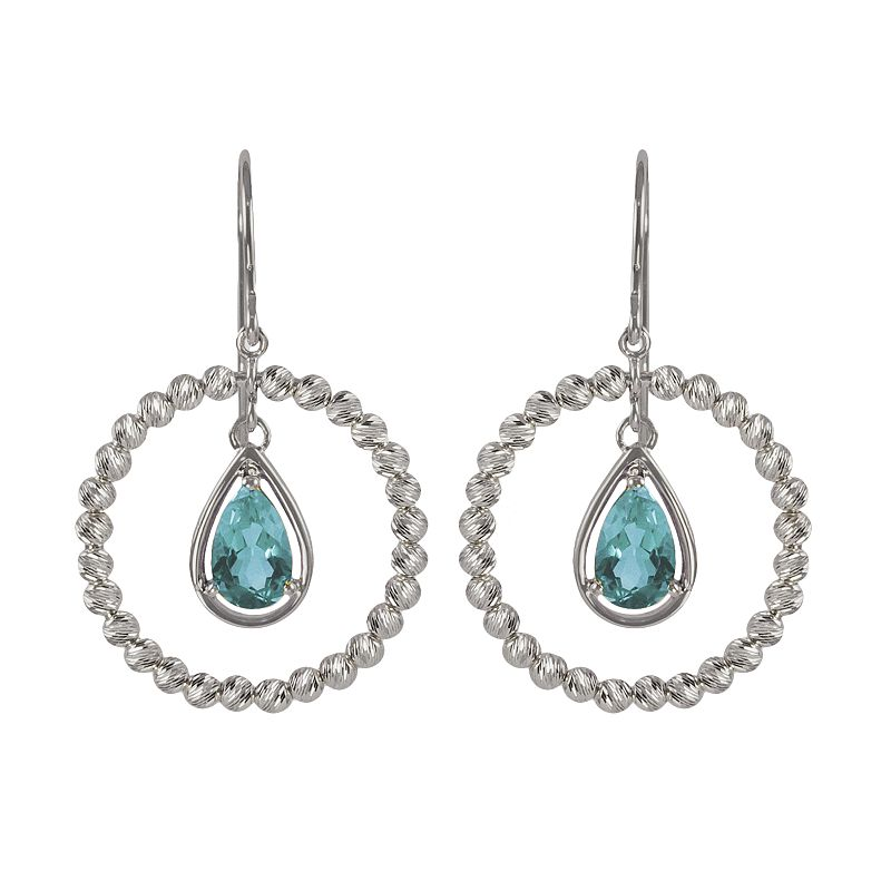 Sterling Silver Blue Topaz Bead Hoop Drop Earrings