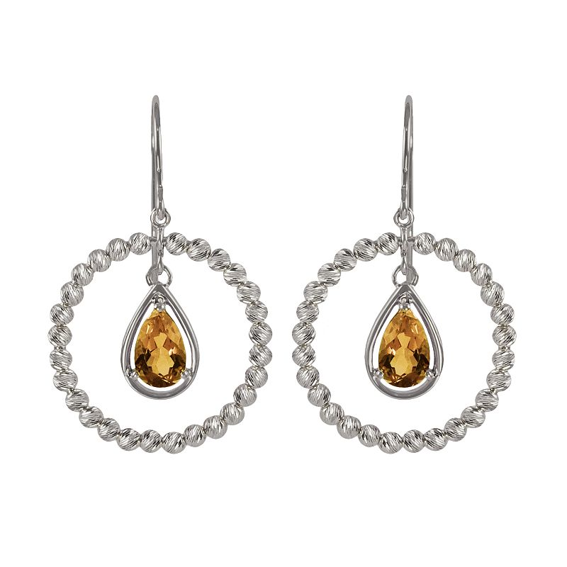 Sterling Silver Citrine Bead Hoop Drop Earrings