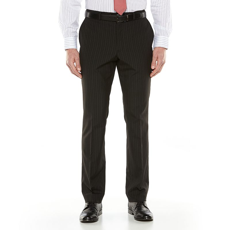 Men's Savile Row Striped Flat-Front Black Suit Pants