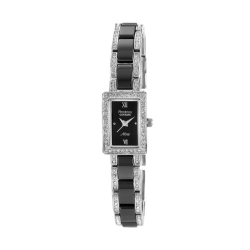 Armitron NOW Black Ceramic and Silver Tone Crystal Watch - 75/3955BKSV - Women