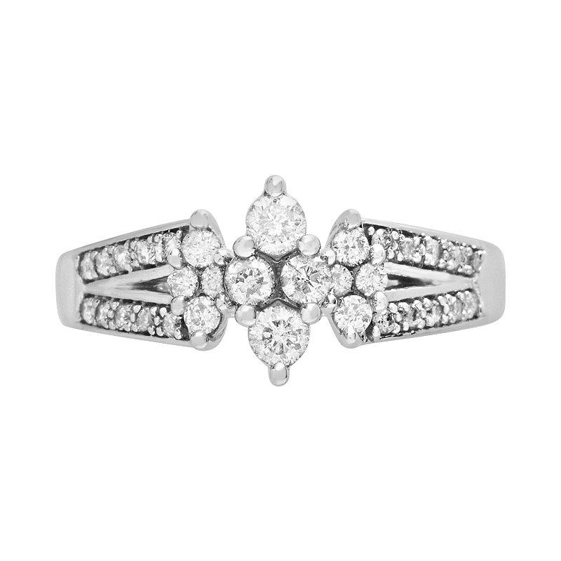 Cherish Always Round-Cut Diamond Engagement Ring in 10k White Gold (1/2 ct. T.W.)