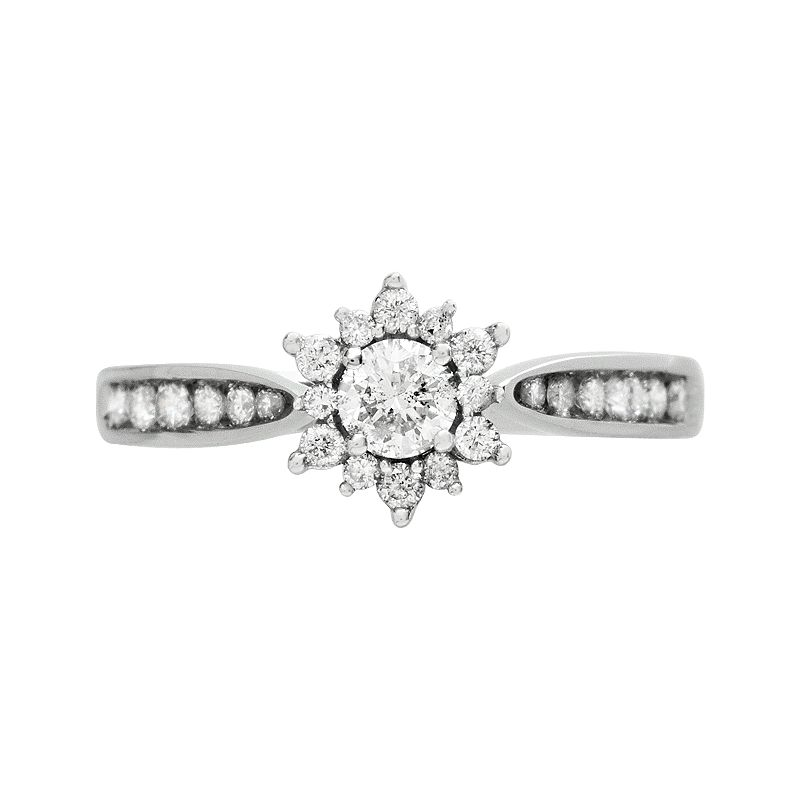 Cherish Always Diamond Starburst Engagement Ring in 10k White Gold (1/2 Carat T.W.)