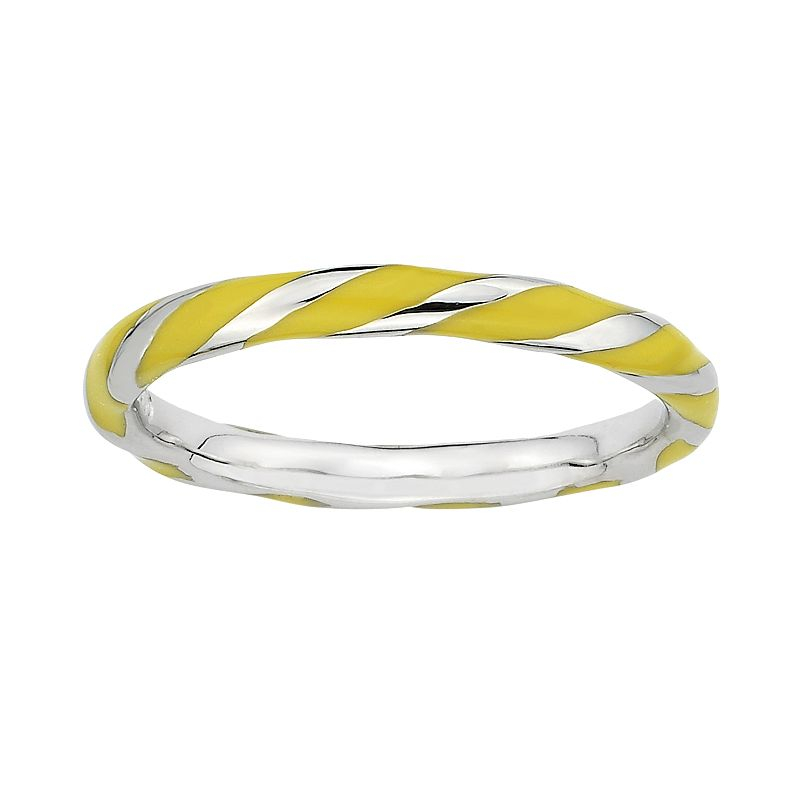 Stacks and Stones Sterling Silver Yellow Enamel Twist Stack Ring