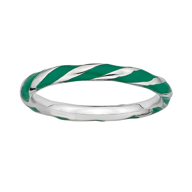 Stacks and Stones Sterling Silver Green Enamel Twist Stack Ring