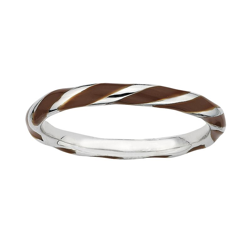Stacks and Stones Sterling Silver Brown Enamel Twist Stack Ring