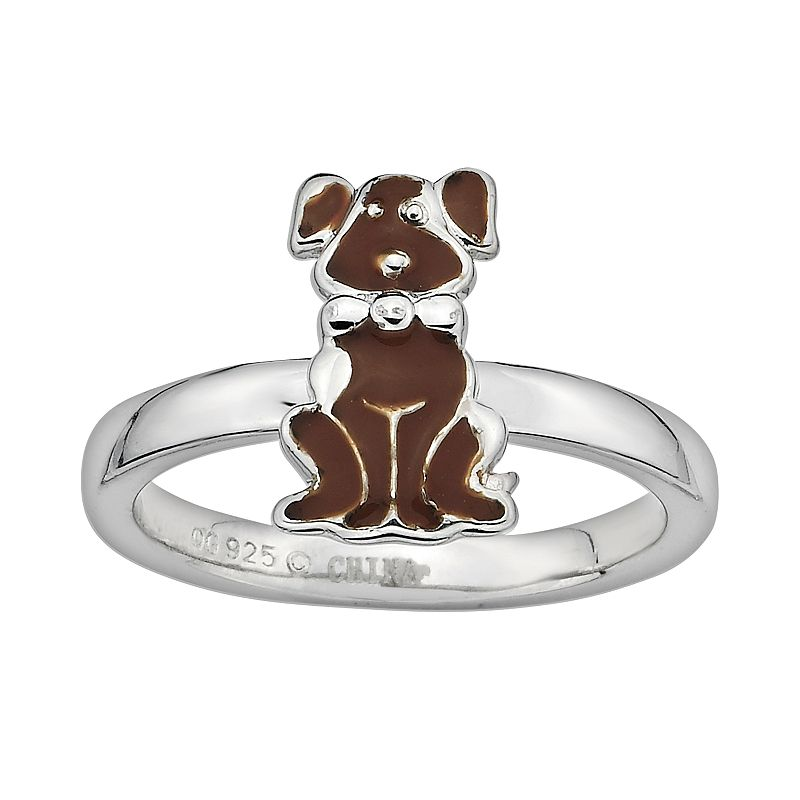 Stacks and Stones Sterling Silver Brown Enamel Dog Stack Ring