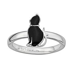 Stacks & Stones Sterling Silver Black Enamel Cat Stack Ring