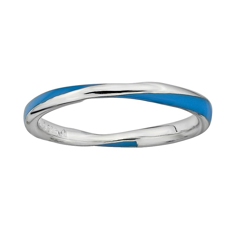 Stacks and Stones Sterling Silver Blue Enamel Twist Stack Ring