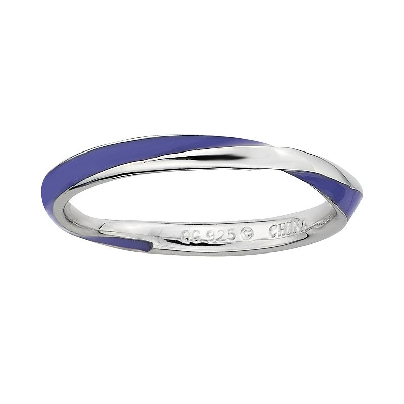 Stacks and Stones Sterling Silver Purple Enamel Twist Stack Ring