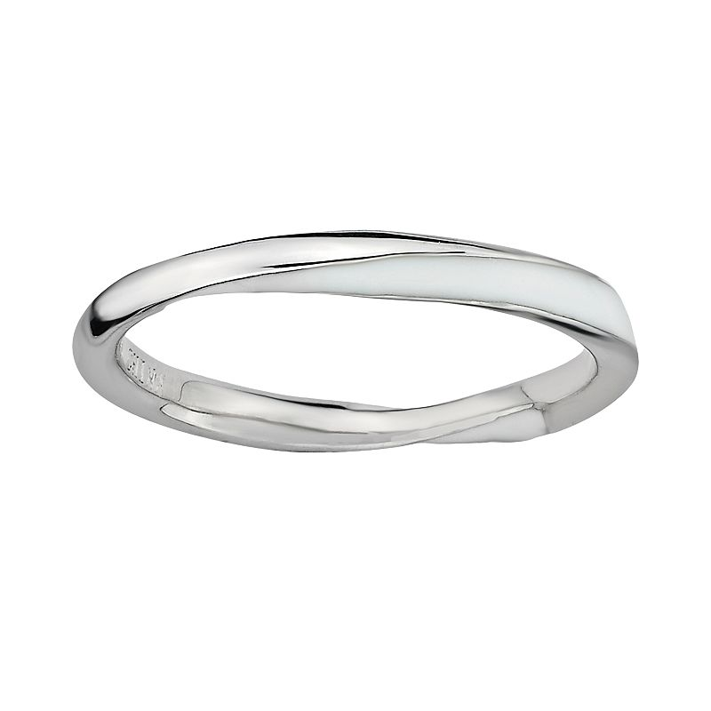 Stacks and Stones Sterling Silver White Enamel Twist Stack Ring