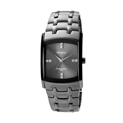 Armitron Stainless Steel Gunmetal Ion Crystal Watch - 20/4507DSDS - Men