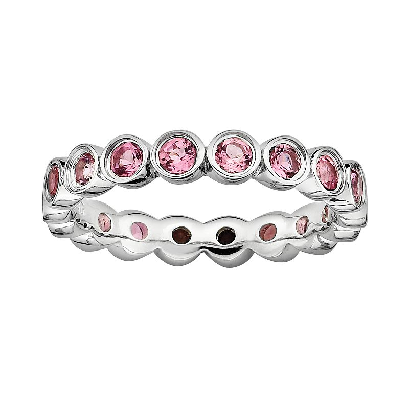 Stacks and Stones Sterling Silver Pink Tourmaline Eternity Stack Ring