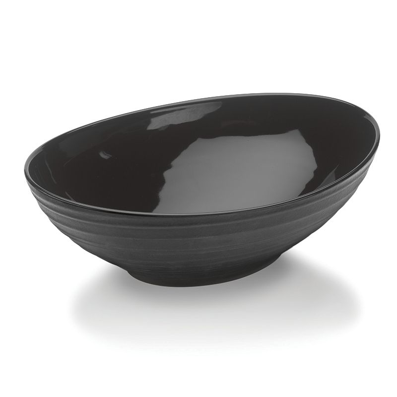 Mikasa Swirl Black Oval Vegetable Bowl