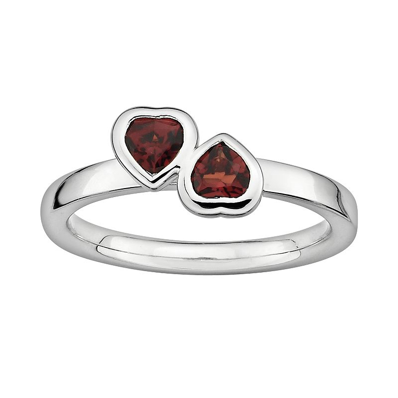 Stacks and Stones Sterling Silver Garnet Heart Stack Ring
