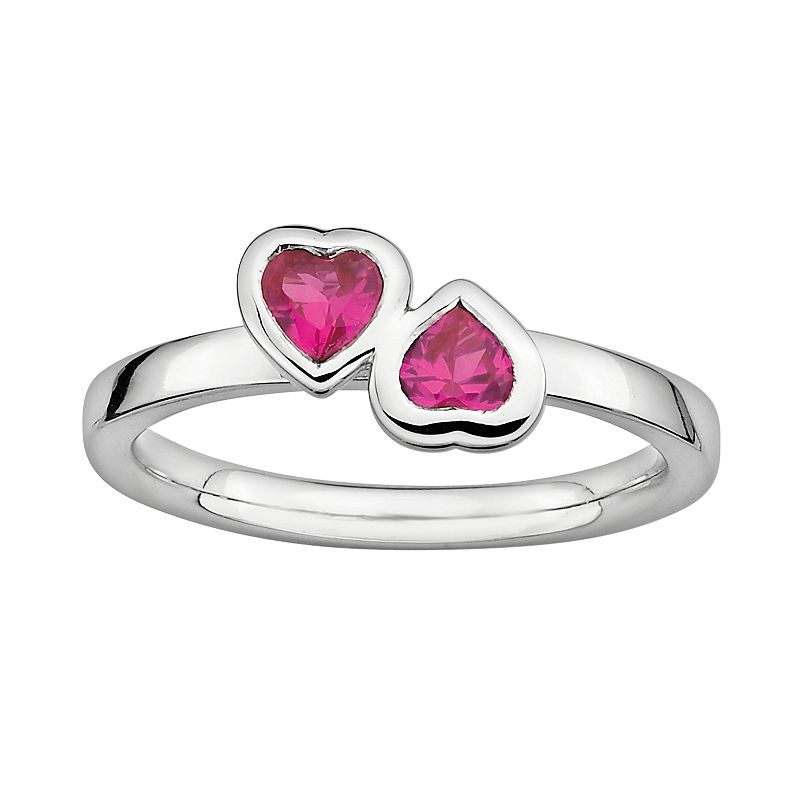 Stacks and Stones Sterling Silver Lab-Created Ruby Heart Stack Ring