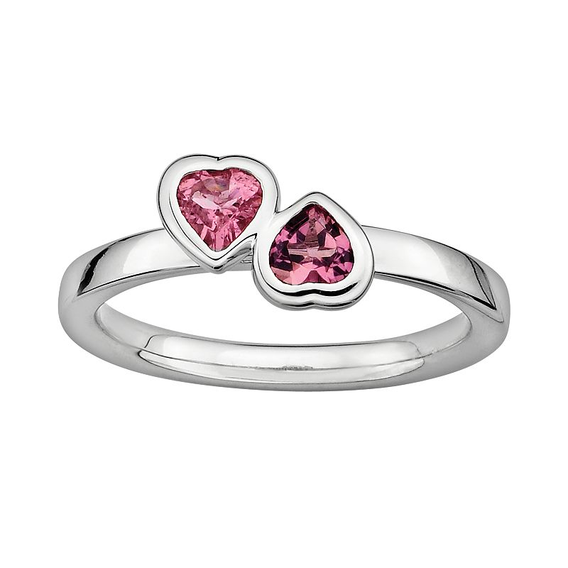 Stacks and Stones Sterling Silver Pink Tourmaline Heart Stack Ring