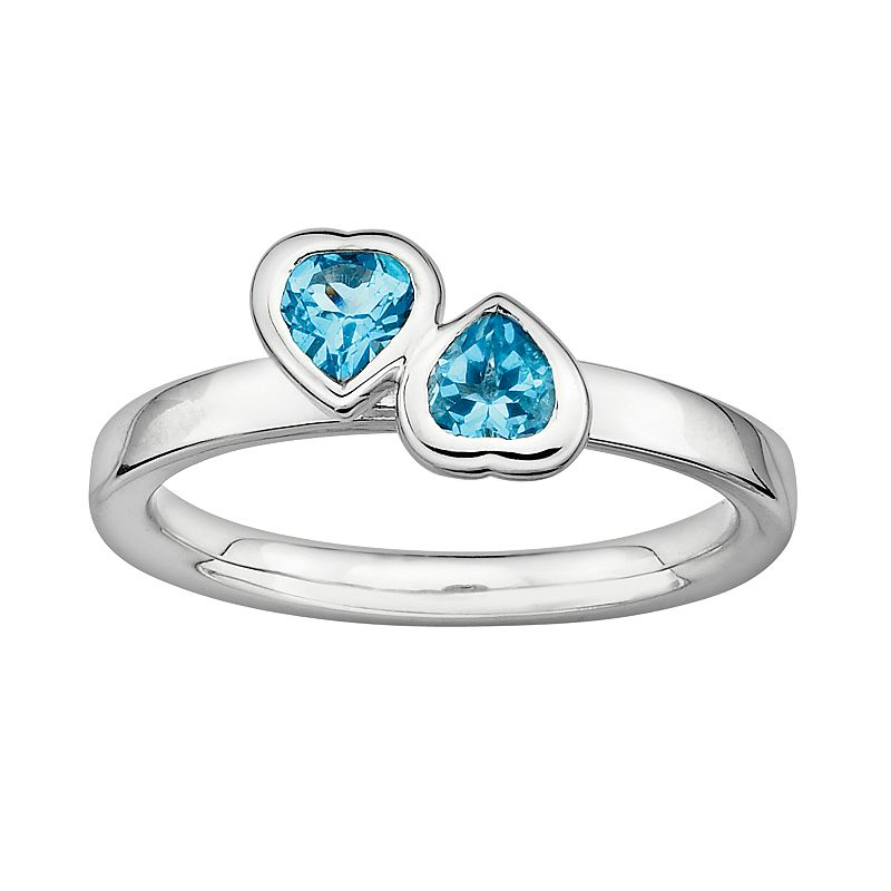 Stacks and Stones Sterling Silver Blue Topaz Heart Stack Ring