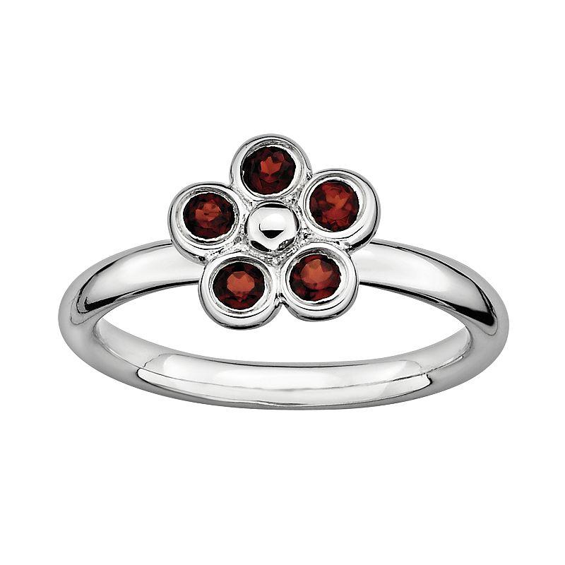 Stacks and Stones Sterling Silver Garnet Flower Stack Ring
