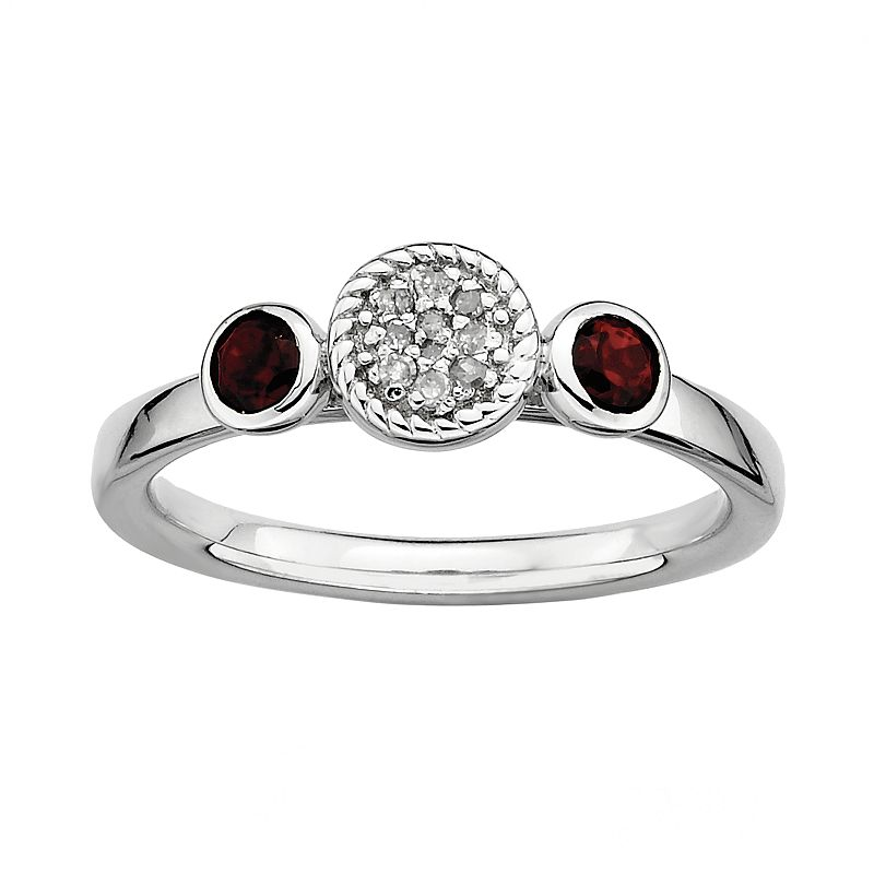 Stacks and Stones Sterling Sterling Silver Garnet and Diamond Accent Stack Ring