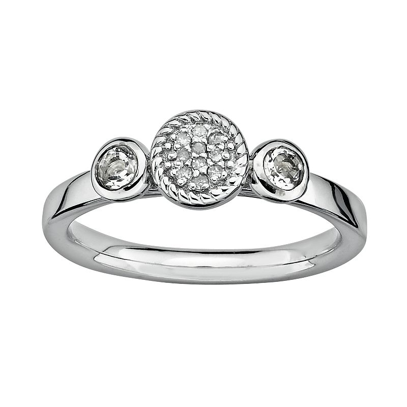 Stacks and Stones Sterling Sterling Silver White Topaz and Diamond Accent Stack Ring