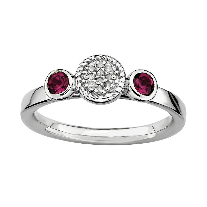Stacks and Stones Sterling Sterling Silver Rhodolite Garnet and Diamond Accent Stack Ring