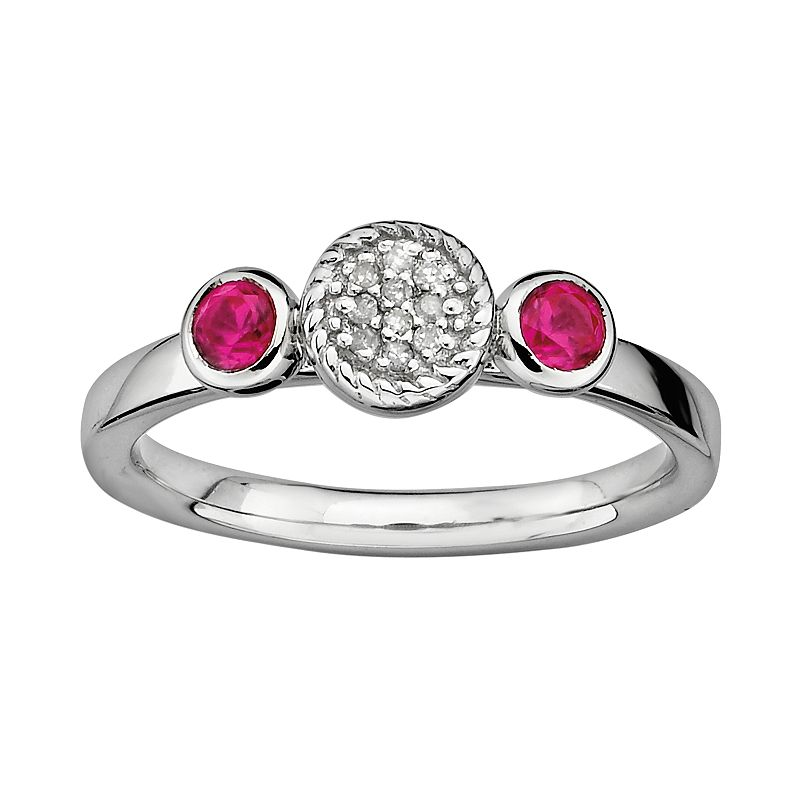 Stacks and Stones Sterling Sterling Silver Lab-Created Ruby and Diamond Accent Stack Ring