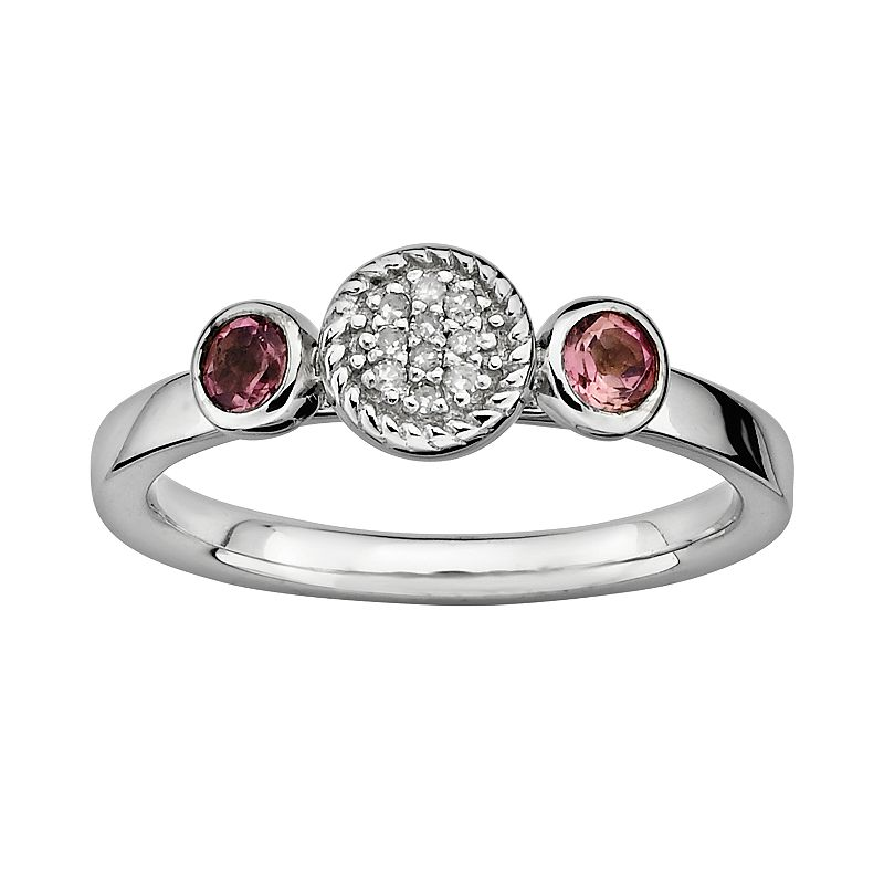 Stacks and Stones Sterling Silver Pink Tourmaline and Diamond Accent Stack Ring