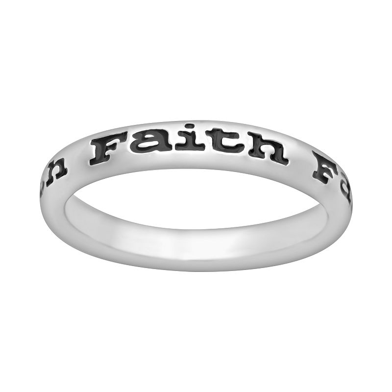 Stacks and Stones Sterling Silver Black Enamel Faith Stack Ring
