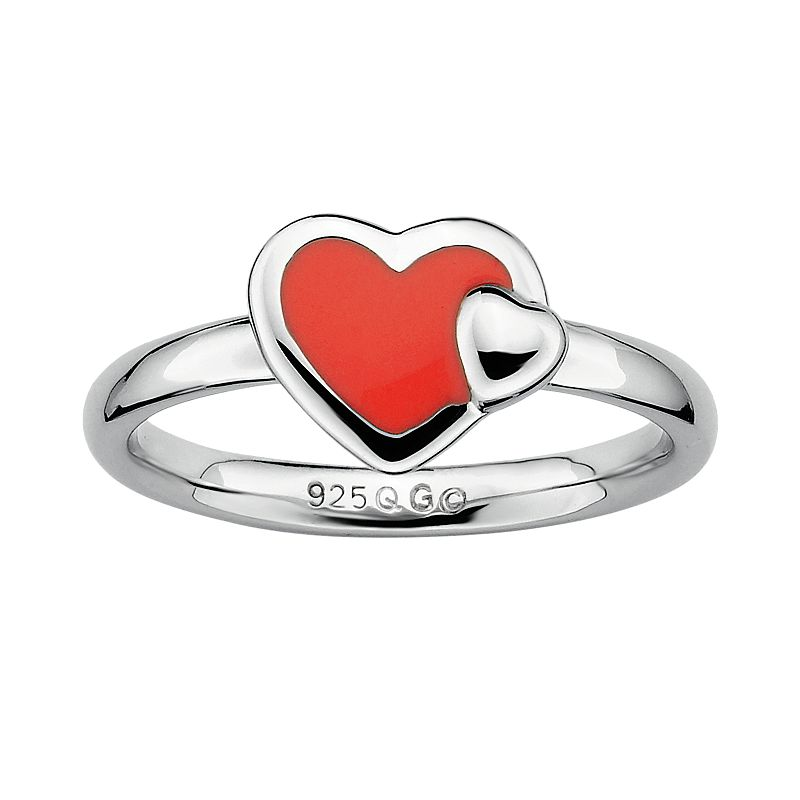 Stacks and Stones Sterling Silver Red Enamel Heart Stack Ring